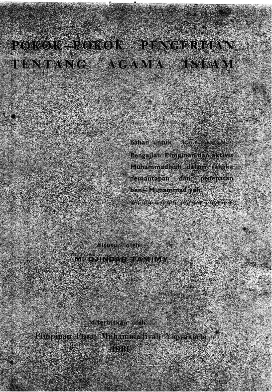 Photo of ebook: Pokok-Pokok Pengertian Tentang Agama Islam oleh M. Djindar Tamimy Diterbitkan oleh PP Muhammadiyah tahun 1981